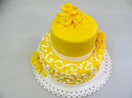 svatební dort žlutý