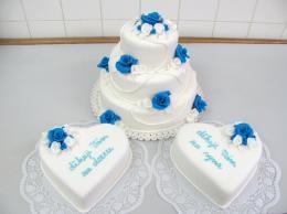 modrobílý dort s poděkováním pro rodiče