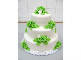 trojpatrový bílo-zelený dort