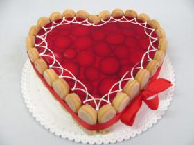 jahodový dort srdce
