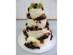 ovocný dort s krémovým povrchem